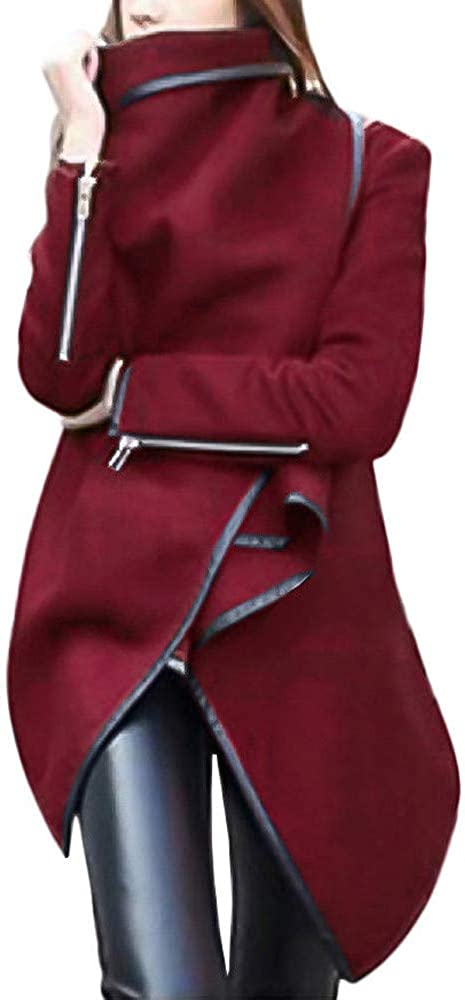 Leather Jacket Women Plus Size with Hood,Women Irregular Bow Zippers Sleeve Long Warm Coat Wool Jacket Parka Windbreaker