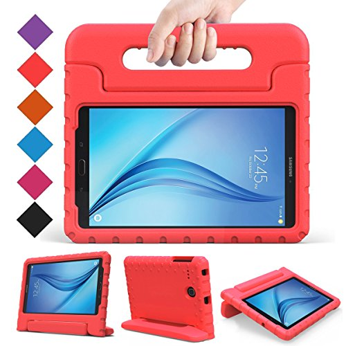 BMOUO Kids Case for Samsung Galaxy Tab E 8.0 inch - EVA Shockproof Case Light Weight Kids Case Super Protection Cover Handle Stand Case for Kids Children for Samsung Galaxy TabE 8-inch Tablet - Red