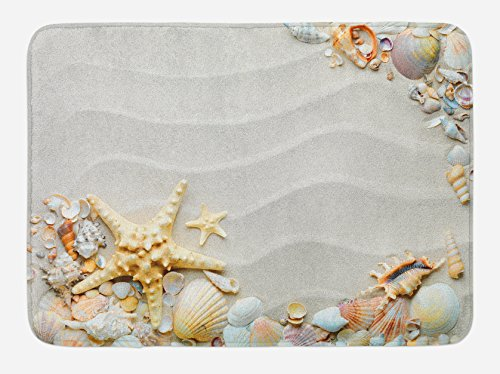 Ambesonne Starfish Bath Mat, Seacoast with Sand with Colorful Various Seashells Tropics Aquatic Wildlife Theme, Plush Bathroom Decor Mat with Non Slip Backing, 29.5