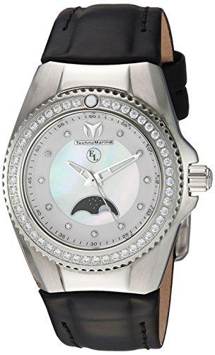Technomarine Women's Eva Longoria Stainless Steel Quartz Watch with Leather Calfskin Strap, Black, 23 (Model: TM-416019)