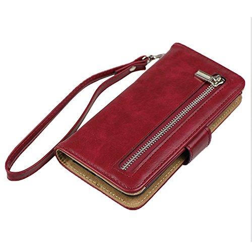 Funda iPhone 7, iPhone 7 Case, Rosa Schleife Multifunción de alta calidad caja de la cremallera de billetera de cuero 2 en 1 Cartera De Cuero caja del teléfono de Caso Carcasa cubierta de la carpeta d A - Púrpura