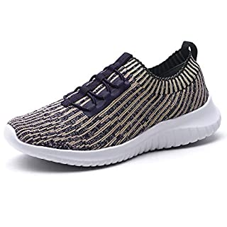 TIOSEBON Women's Lightweight Casual Walking Athletic Shoes Breathable Running Slip-On Sneakers 5 US Khaki