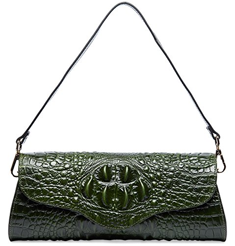 - PIFUREN Alligator Crocodile Embossed Genuine Leather Womens Clutch Purse M1113 (Green) ...