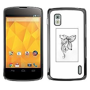 For LG Google NEXUS 4 / Mako / E960 Case , Mythical Butterfly Poster White Art - Diseño Patrón Teléfono Caso Cubierta Case Bumper Duro Protección Case Cover Funda