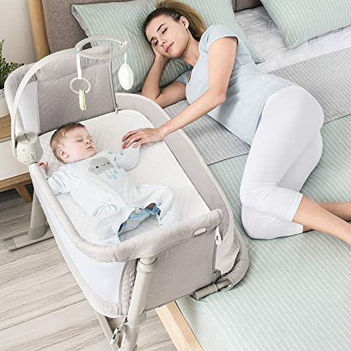 Baby Bassinet,RONBEI Bedside Sleeper Baby Bed Cribs,Baby Bed to Bed, Newborn Baby Crib,Adjustable Portable Bed for Infant/Baby Boy/Baby Girl (Bassinet) from RONBEI