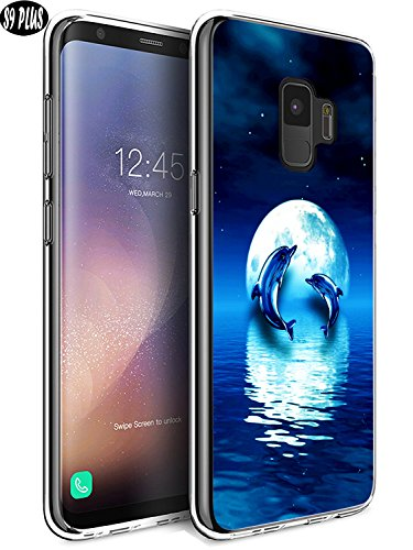 Dolphins Moon (S9 Plus Case Dolphin,Ecute Soft Slim Flexible Clear Rubber Side + Fashion Hard Back Case for Samsung Galaxy S9 Plus - Dolphin and Moon)