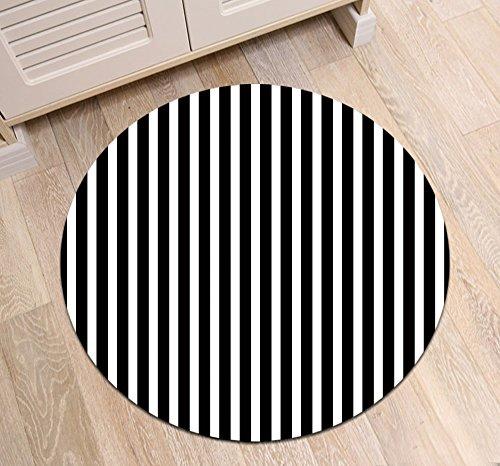 (LB Black White Stripe Round Area Rug Mat, Simple Striped Pattern Floor Mat for Bathroom Living Room, Soft Flannel Microfiber Surface Mat, 4 Ft Diameter)