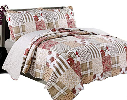 Coast to Coast Living Quilt Sets, Luxurious 3pc Bedspreads- Cotton Rich Soft  (Americana, King) (Country Quilts King Size)