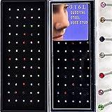 YanTuj Women's 18G 60pcs Stainless Steel Nose Studs Rings Pins Bar Piercing