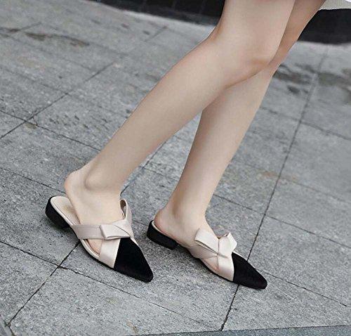 estrecha 34 Eu Beige punta Casual de Cool OL Court Mujer Onfly Sandalias vestir Shoes Zapatos Slippers bajo Colormatch Tamaño Bomba de 40 Mules tacón Bowknot de Aqngwx0