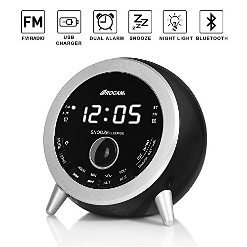 ROCAM Bluetooth Digital Alarm Clock Radio with FM Radio, Dua