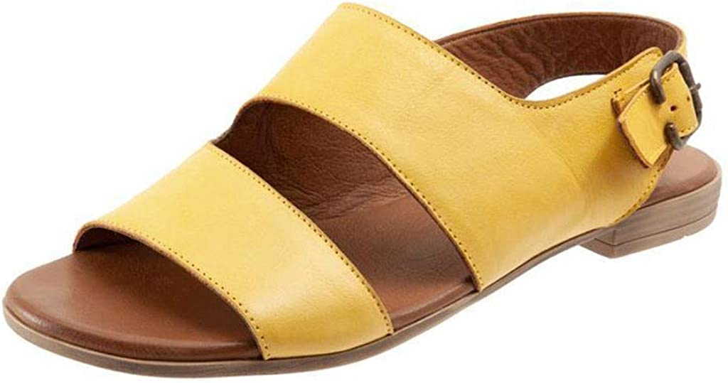 Summer Womens Sandals Retro Buckle-Strap Sandals Flat Bottom Roman Womens Shoes Casual Elegant Shoe