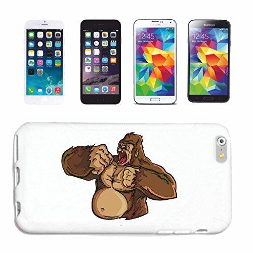 "cas de téléphone iPhone 7S ""BROWN GORILLA LA DRUMS MONKEY MONKEY GORILLA CHIMP SILVER RETOUR APE CHARLY MONKEY KING KONG"" Hard Case Cover Téléphone Covers Smart Cover pour Apple iPhone en blanc"