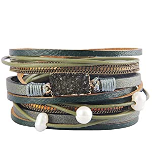 AZORA Leather Wrap Bracelet for Women Multi Layer Druzy Stone Cuff Bracelets with Magnet Clasp Gift for Girls ¡­