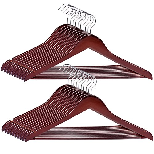 RoyalHanger Wood Hangers 20-Pack, Suit Hangers Coat Hanger Wooden Hangers for Pants Skirt Coat Trouser, Non-Slip, Walnut Finish