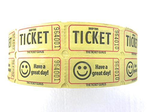 The Ticket Gurus DOUBLE SMILE raffle tickets-2000/roll (Yellow) (Tickets Raffle Roll)