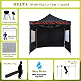 10'x10' Pop up 4 Wall Canopy Party Tent Gazebo Ez Black Flame - F Model Upgraded Frame By DELTA Canopies