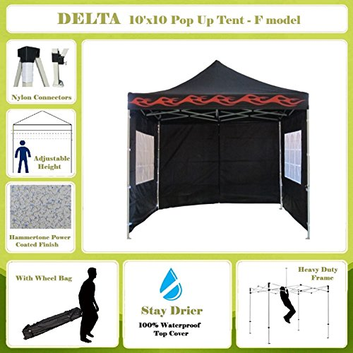 10'x10′ Pop up 4 Wall Canopy Party Tent Gazebo Ez Black Flame – F Model Upgraded Frame By DELTA Canopies Review