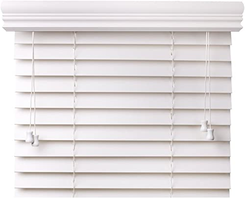 spotblinds Custom Cut to Size 2 Premium Faux Wood Blinds from 24 Wide to 58 Long Snow White Smooth 31 W x 50 L