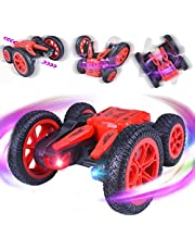 ETEPON RC Stunt Car Remote Control Car, RC Racing Toy Car Double Sided 360°Flips Control Tracks 4WD 2.4GHz Off Road Truck for Kids and Adults Black