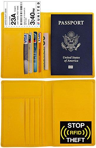 Yellow Genuine Leather (Travelambo RFID Blocking Genuine Leather Passport Holder Wallet Cover(yellow))