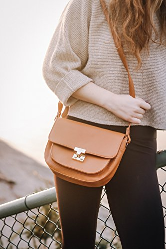 ECOSUSI Women Crossbody Saddle Bags Shoulder Purse with Flap Top & Phone Pocket, Brown by ECOSUSI (Image #2)