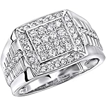 Mens Pinky Rings Diamond Band 10k Rose, White or Yellow Gold Square Shape 1ctw by Luxurman