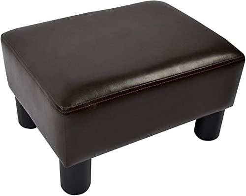 windaze Ottoman Footrest Stool PU Leather Small Chair Seat Couch,Brown