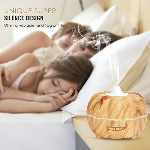 MoKo 300ML Ultrasonic Air Humidifier, Pumpkin Aromatherapy Essential Oil Diffuser with Warm White Night Light Waterless Auto-Off for Office Home Bedroom Room Study Yoga Spa - Wood Color by MoKo (Image #4)