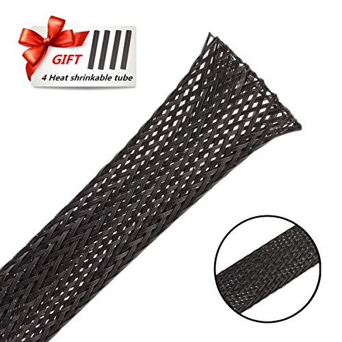 PET Braided Cable Sleeve 25ft - 1 Inch Cable Management Sleeve Cables Organizer for Wrap and Protect Cables - Black Wire Loom Tubing