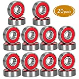 Spruce Skateboard Bearing, ABEC-9/ABEC-11 High Speed Wearproof Skating Steel Wheel Roller, Precision Skate Bearings for Longboard, Kick Scooter, Inline and Roller Skates (ABEC-9 (Red)- 20 Pack)