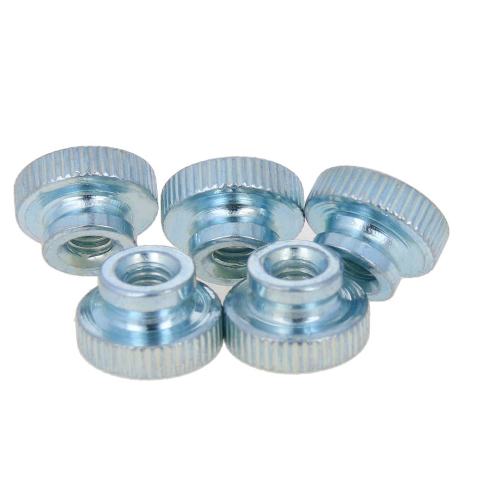 MroMax Knurled Thumb Nuts M5 Round Knobs with Zinc Plating Straight Flower Silver Tone 30pcs