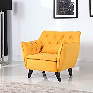 century modern tufted linen fabric living room accent chair yellow