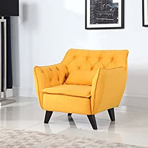 Mid Century Modern Tufted Linen Fabric Living Room Accent Chair
