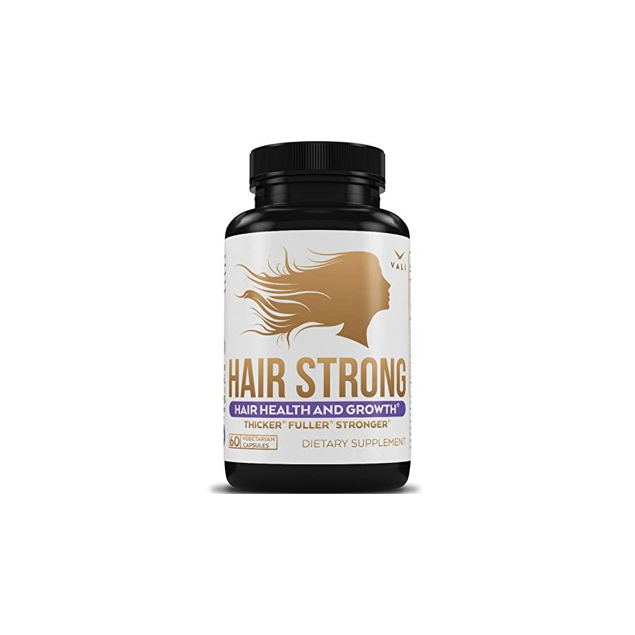 Hair Health Growth Vitamins with Biotin & Keratin 60 Veggie Capsules. Extra Strength Supplement for Longer Stronger Hair, Skin, Nails. For Women & Men For Damaged, Thinning & Hair Loss Regrowth