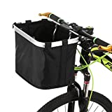 Lixada Bicycle Front Basket Folding Removable Bike Handlebar Basket Pet Cat Dog Carrier Bag Aluminum Frame Top Handles
