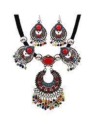 Women Ethnic Style Retro Resin Turquoise Bead Necklace Earring Jewelry Set