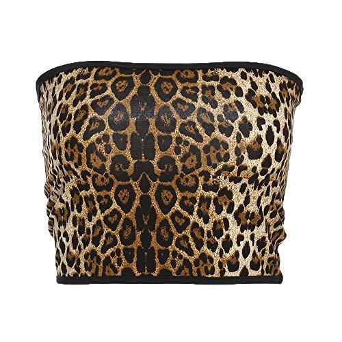 malianna Women Leopard Sexy Strapless Boob Tube Top Print Top (L)