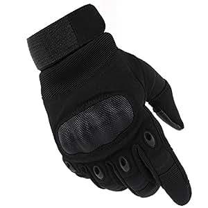 Valpeak Mens Military Tactical Gloves Hard Knuckle Gloves for Shooting Airsoft Tactical Gloves (Black, M)