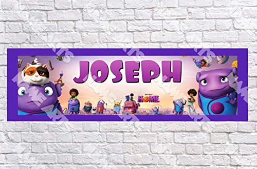 Personalized / Customized Dreamworks Home Movie Name Poster with Border Mat- Home Wall Decor Birthday Party Door Banner -