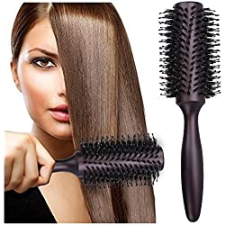 HOMEIDEAS Styling Professional Natural Boar Bristles Round Hairbrush, Adding Hair Volume and Shine Barrel Hair Brush for Hair Blow Drying, Styling, Curling, Large Round Handle 2 Inch