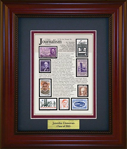 Journalism - Unique Framed Collectible (A Great Gift Idea) with Personalized Engraved Plate by American Stamp Art by Creative Framing