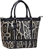 Femina Women's Fashion Shiny Leopard Tote (Tan)