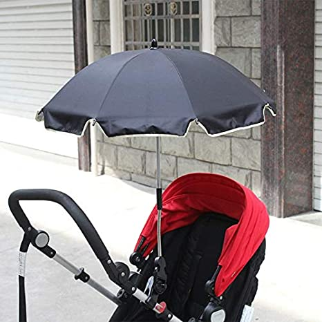 Gaoominy Uv Schutz Und Regen Schutz Kinder Wagen Abdeckung Regenschirm Kann Frei Gebogen Werden Und Rostet Nicht Der Universal Kinder Wagen Zubeh?r Schwarz