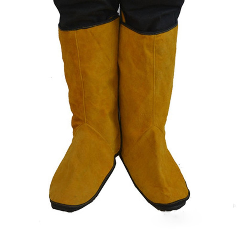 Cowhide Leather Welding Spats Welding Protective Shoes Feet Cover for Welder, Flame Resistant Foot Safety Protection HCT09-B