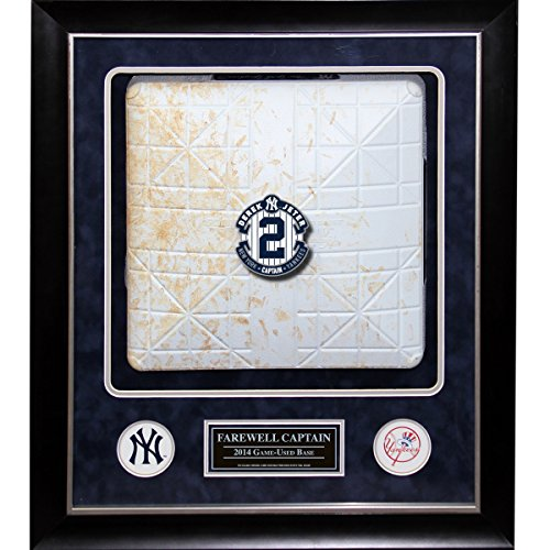Yankee Stadium 2014 Authenticated Game Used Base 20 inch x 24 inch Custom Framed Collage - Commemorating Derek Jeters Final Season
