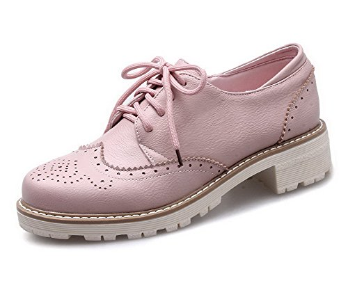 AllhqFashion Damen Niedriger Absatz Weiches Material Rein Schnüren Rund Zehe Pumps Schuhe Pink