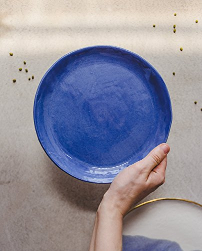 Blue porcelain small plate for a serving of salad, dessert, cheese or fruits - Modern pottery gift by SIND studio -