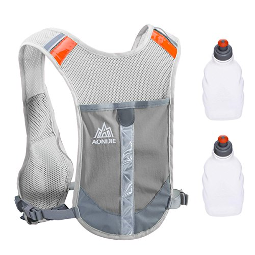 TRIWONDER Reflective Running Vest Hydration Vest Hydration Pack Backpack for Marathoner Running Race Cycling (Grey - with 2 Water Bottles) (Mesh Running Vest)