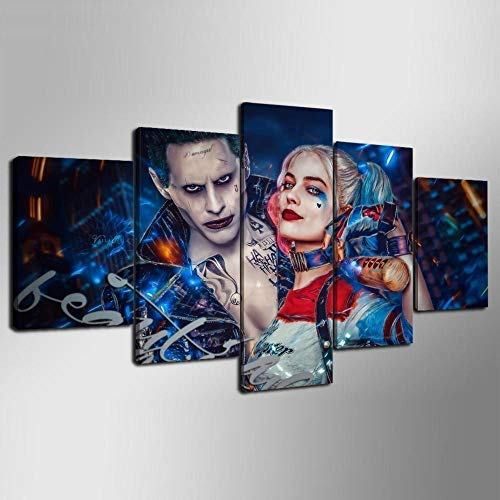 Artwu Joker Harley Quinn Suicide Squad 5PCS Wall Art Home Wall Decorations for Bedroom Living Room Oil Paintings Canvas Prints-915 (Unframed) (Suicide Squad Joker And Harley Quinn Images)